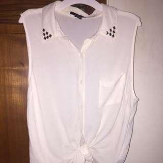 HnM White Shirt Kemeja Lengan Pendek Putih