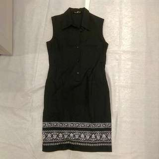 Songket Embroidery Black Dress M