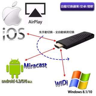 新版2.4G無線HDMi同屏器 平板&手機轉接電視 IOS 9.1版本/Android 4.2版本都可用 WIFI