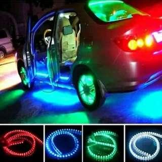底盤燈氣氛燈 超亮LED 中網燈帶 汽車用品門檻燈氛圍燈汽車裝飾燈(48cm白光一條)