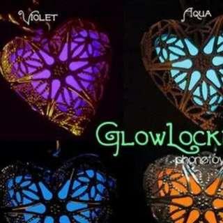 glow in the dark heart locket necklace