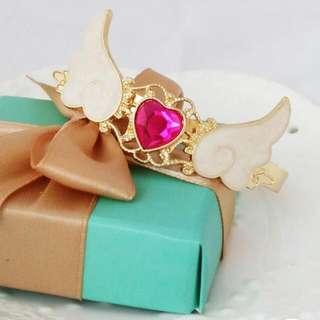 heart wings adjustable gold bracelet