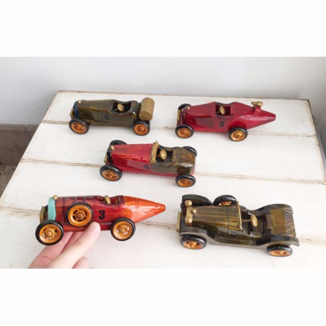 手繪經典木製骨董車模型。中型敞篷賽車5入組。外銷歐洲款絕版商品