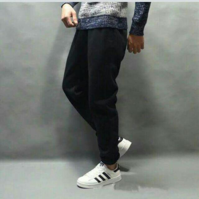 黑色刷毛縮口褲 束口褲