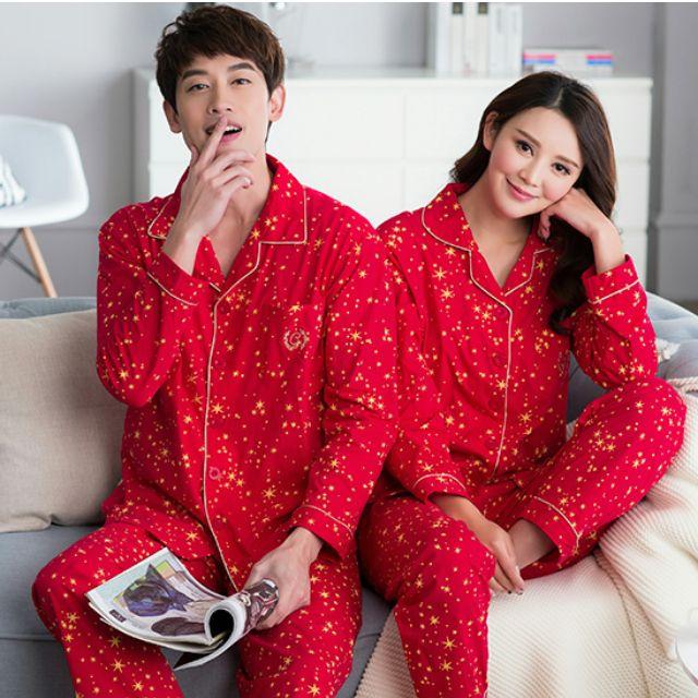 秋季新款 純棉 大紅 睡衣 長袖 情侶睡衣 休閒居家服 情侶套裝 結婚禮物 結婚禮品 送禮
