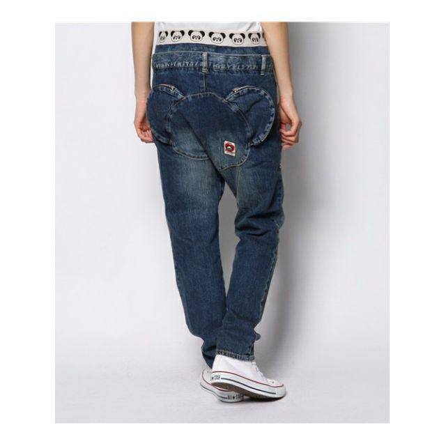 日牌 candy stripper 正品 日系 zipper 特殊設計 低檔 寬鬆 深藍色 熊熊屁股牛仔褲