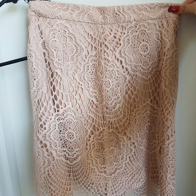bardot lace nude skirt