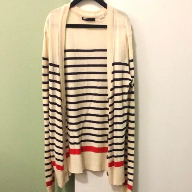 BDG Cream Blue Red Stripe Cardigan | Size 6 XS S | Urban Outfitters