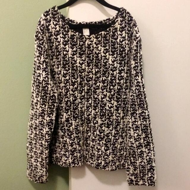 Black and White Pattern Jumper Sweater | XS -  S | From Korea