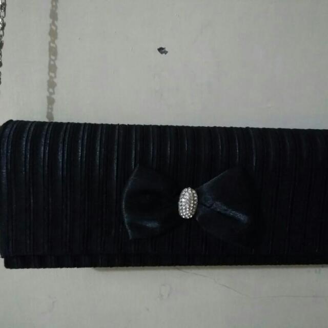 Repriced!! Black Ribbon Clutch