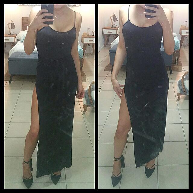 Black Thigh Split Maxi Dress