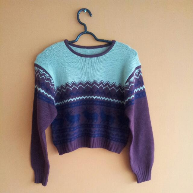 Christmas Theme Crop Sweater