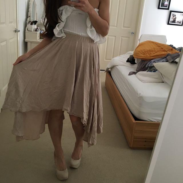 Cream Beige Midi Skirt