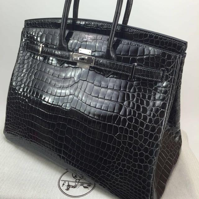 b741763f8eb5 Brand New Hermes Birkin 35 Graphite Shiny Porosus Crocodile PHW R Stamp