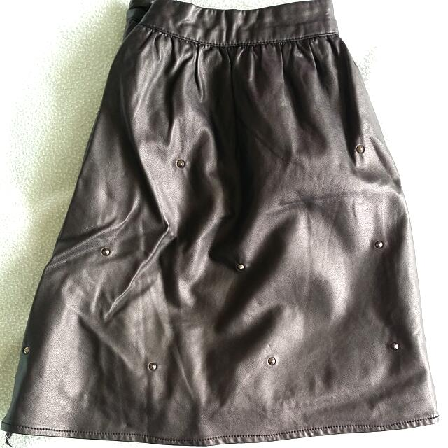 Fake Leather Skirt With Studs