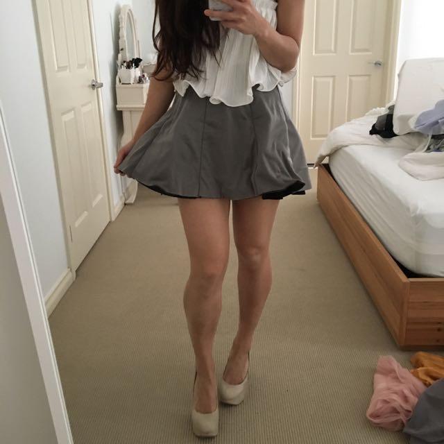 Grey Skater Scuba Neoprene Skirt