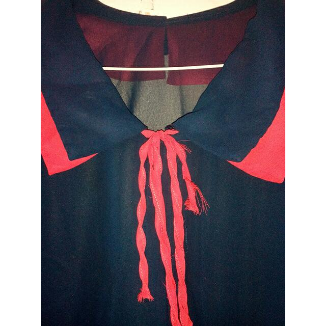 Kemeja Navy With Pink Ribbon