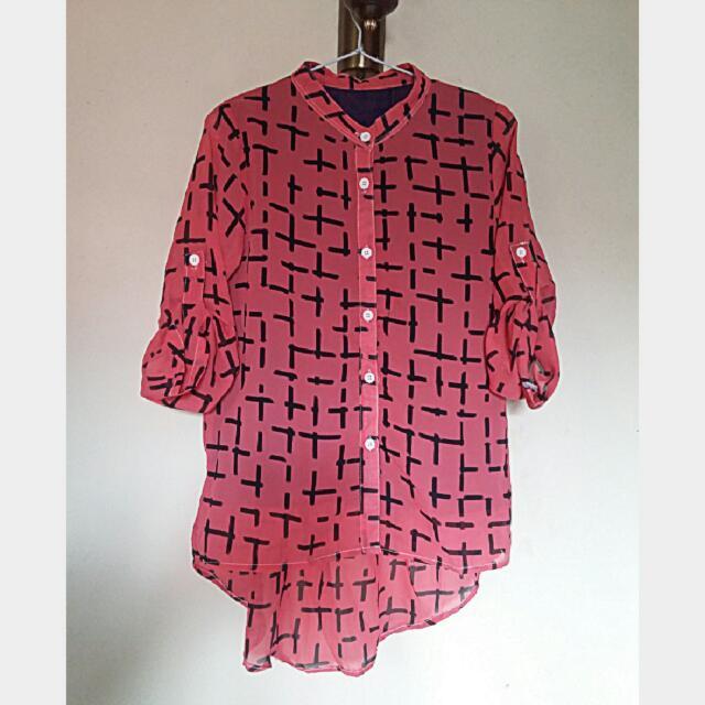 Kemeja Panjang Monochrome Pink
