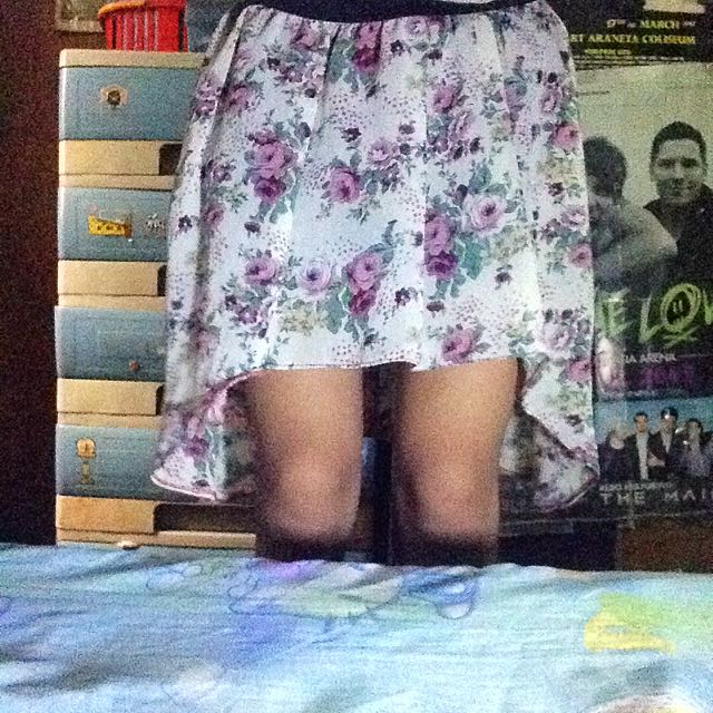 Long Back Floral Skirt