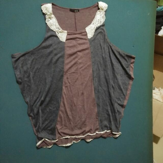 Maroon/Gray Summer Dress M-L