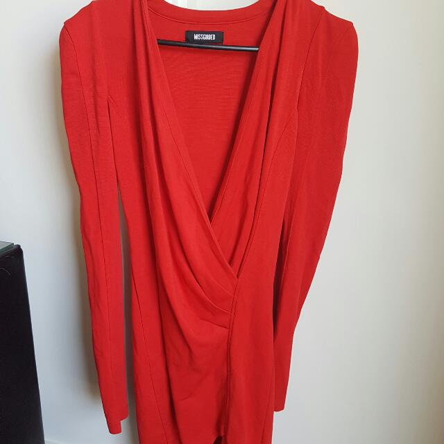 miss guided red long sleeve low neck cut dress
