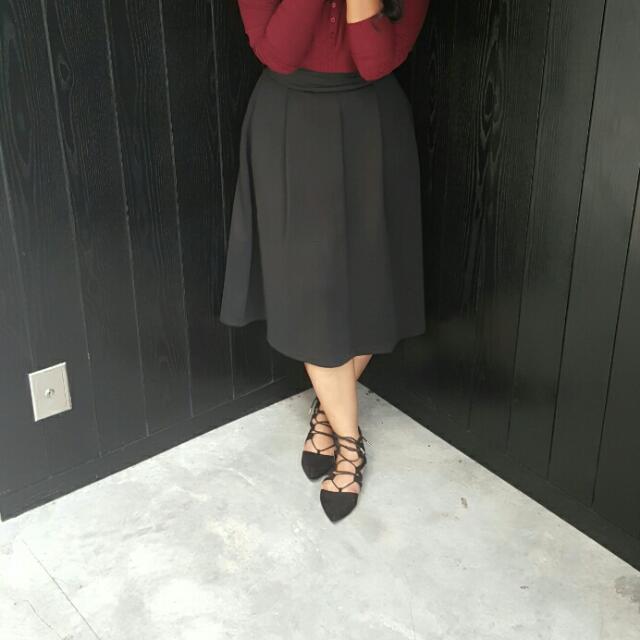 Niichi Black Midi Skirt