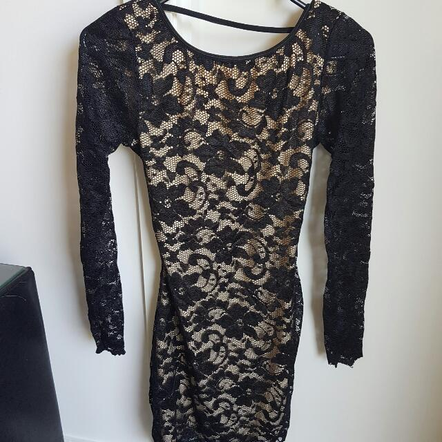 nude & black backless lace dress with sleeves