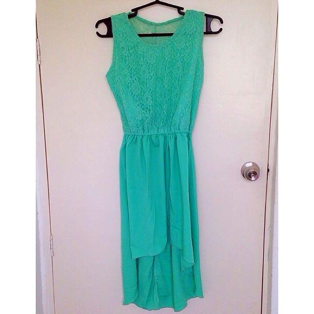 Pastel Green Long Back Dress