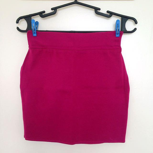 Plum Pencil Cut Skirt
