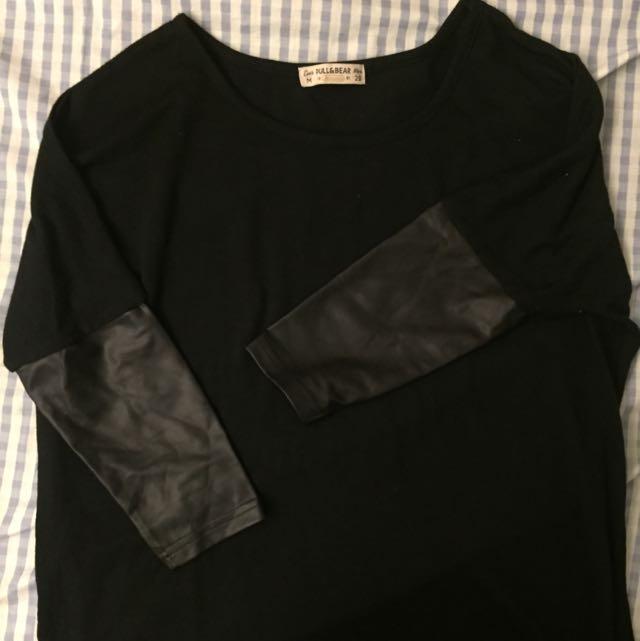 Pull & Bear Leather Sleeve Shirt