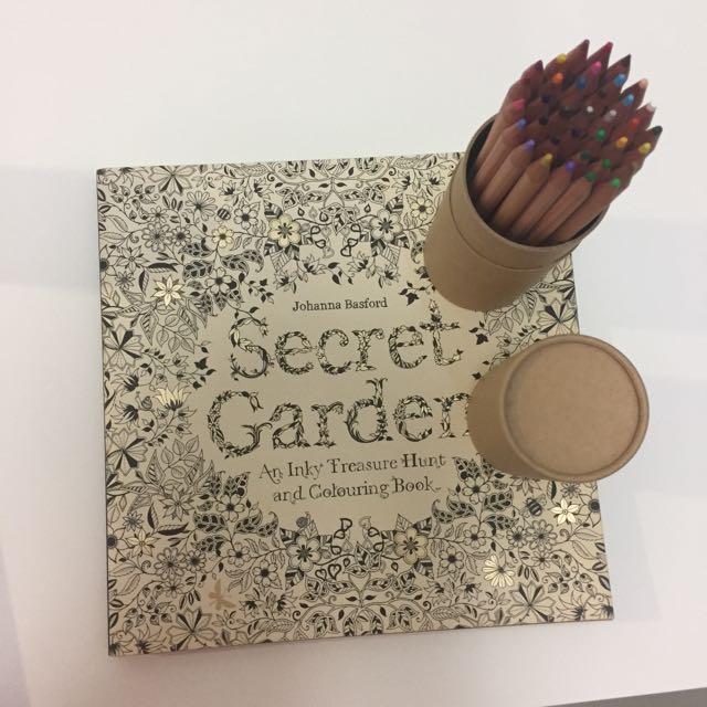 Secret Garden Coloring Book With 36 Color Pencils Bundle Books