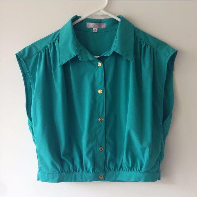 TEMT green/ teal blouse top