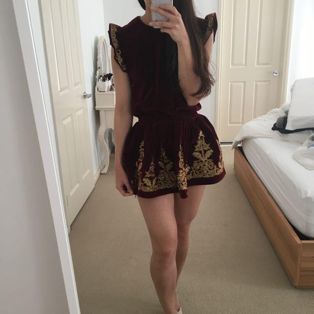 Velvet Burgundy Top Skirt Set