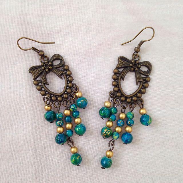 Vintage Green Beads Dangling