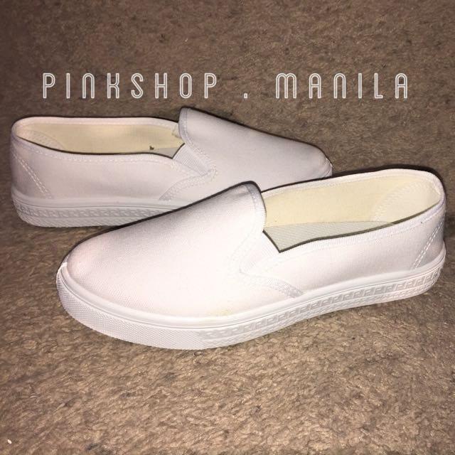 White Canvas Slip-on Sneakers