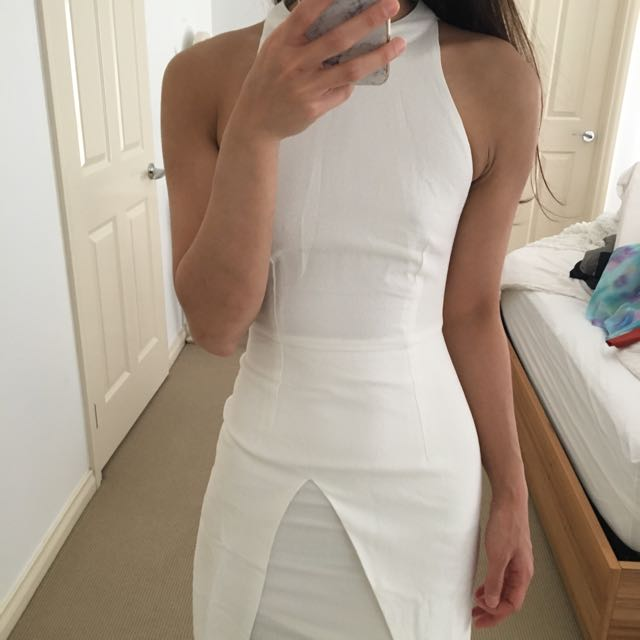White Tight Fit Dress