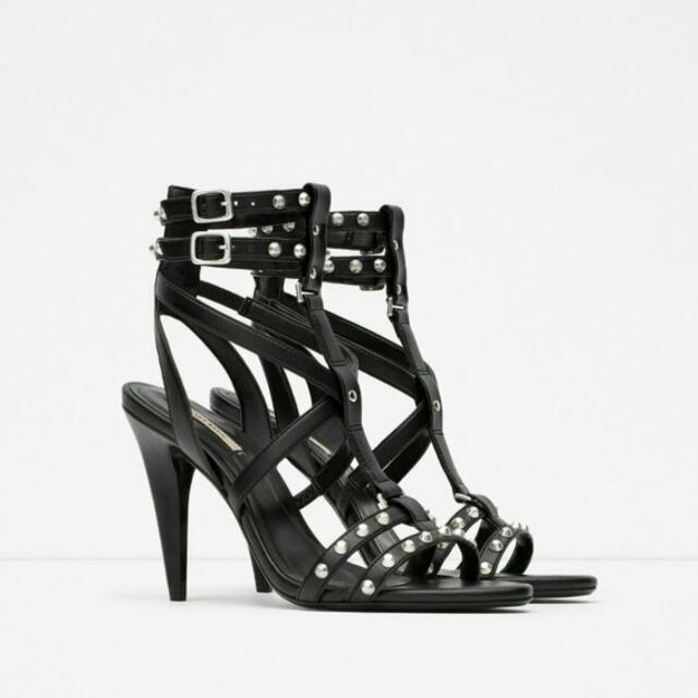 ZARA High Heel Chain Sandals Size 8
