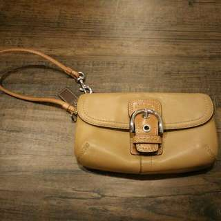 Coach Wristlet - Light Brown Leather