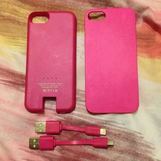 💥Drop Price- iPhone 5/5s Pink Case With Magnetic Case Power Bank. Comes With Two Pink Charger Cords For Power Bank and iPhone.