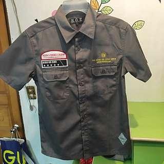 男生軍裝短袖襯衫