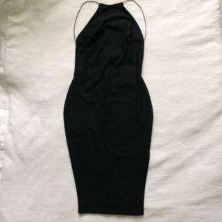 BooHoo High Neck Backless With Slit Dress
