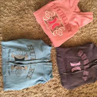 Three Near New Hurley Jumpers