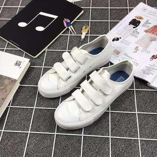 魔術貼帆布鞋小白鞋