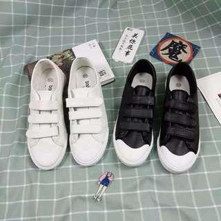 韓國韓版魔術貼帆布鞋皮鞋