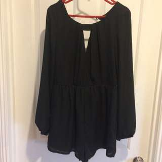 Black Open Back Playsuit