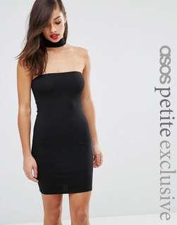 Petite choker mini dress