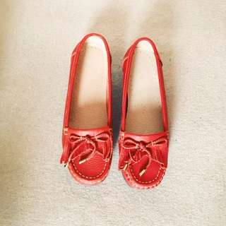 Red Leather Flats Size 38