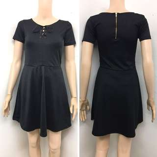 Black Tie up Zipback Dress