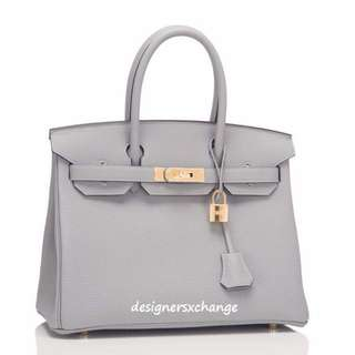b89fb8ae28fc Hermes Birkin 30 Gris Mouette (Grey) Togo Gold HW Brand NEW with 2016 Hermes