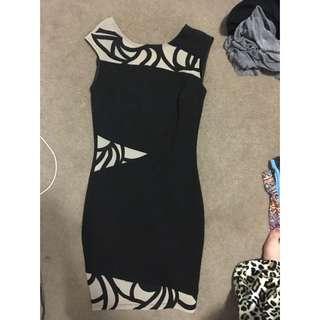 Myers Formal Black And Beige Midi Dress